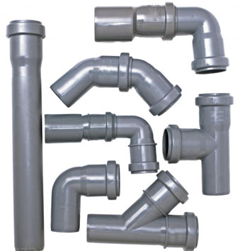Серые канализационные трубы