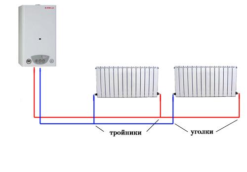 Схема монтажа труб отопления